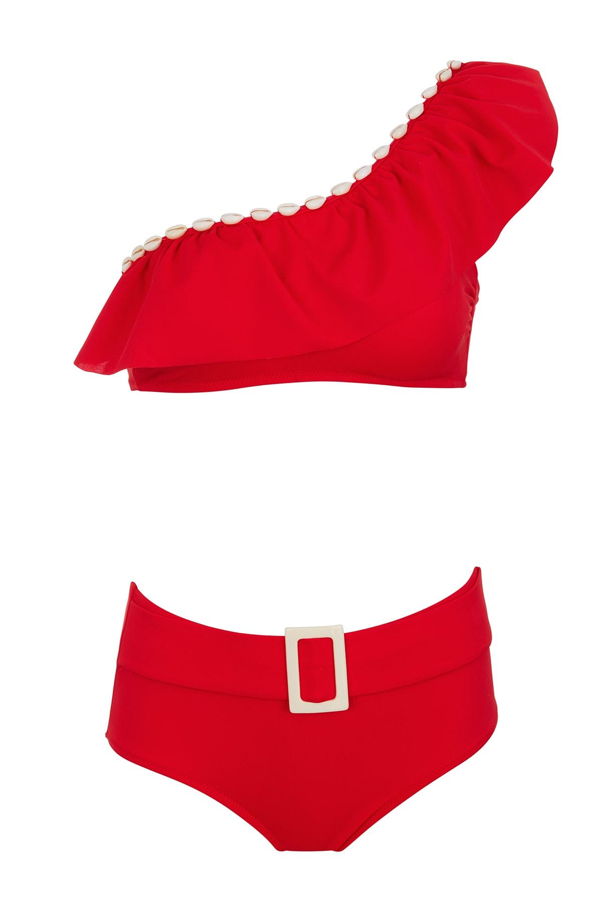 SAILOR swimwear Tek Omuz Deniz Kabuklu Bikini Takım 1