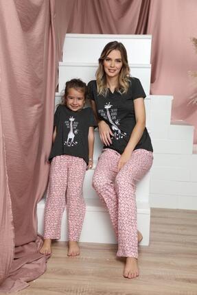 Siyah İnci Kadın Pembe Pamuklu Likralı Kısa Kollu Pijama Takım