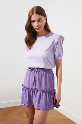 TRENDYOLMİLLA Lila Brode Detaylı Basic Örme T-Shirt TWOSS21TS0663