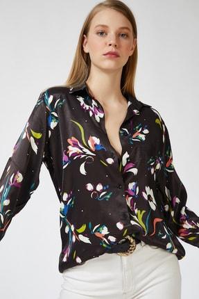 Happiness İst. Kadın Siyah Desenli Oversize Saten Gömlek DP00059