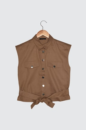 TRENDYOLMİLLA Camel Bağlama Detaylı Gömlek TWOSS21GO0544