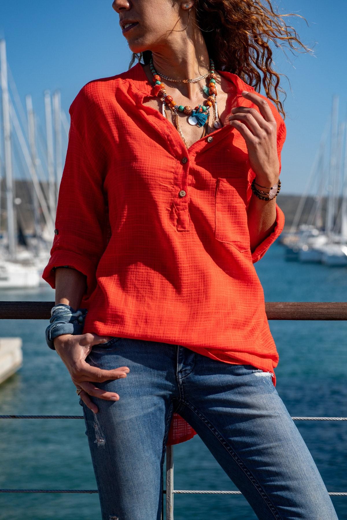 Güneşkızı Kadın Mercan Yıkamalı Keten Yarım Patlı Salaş Bluz GK-RSD2020