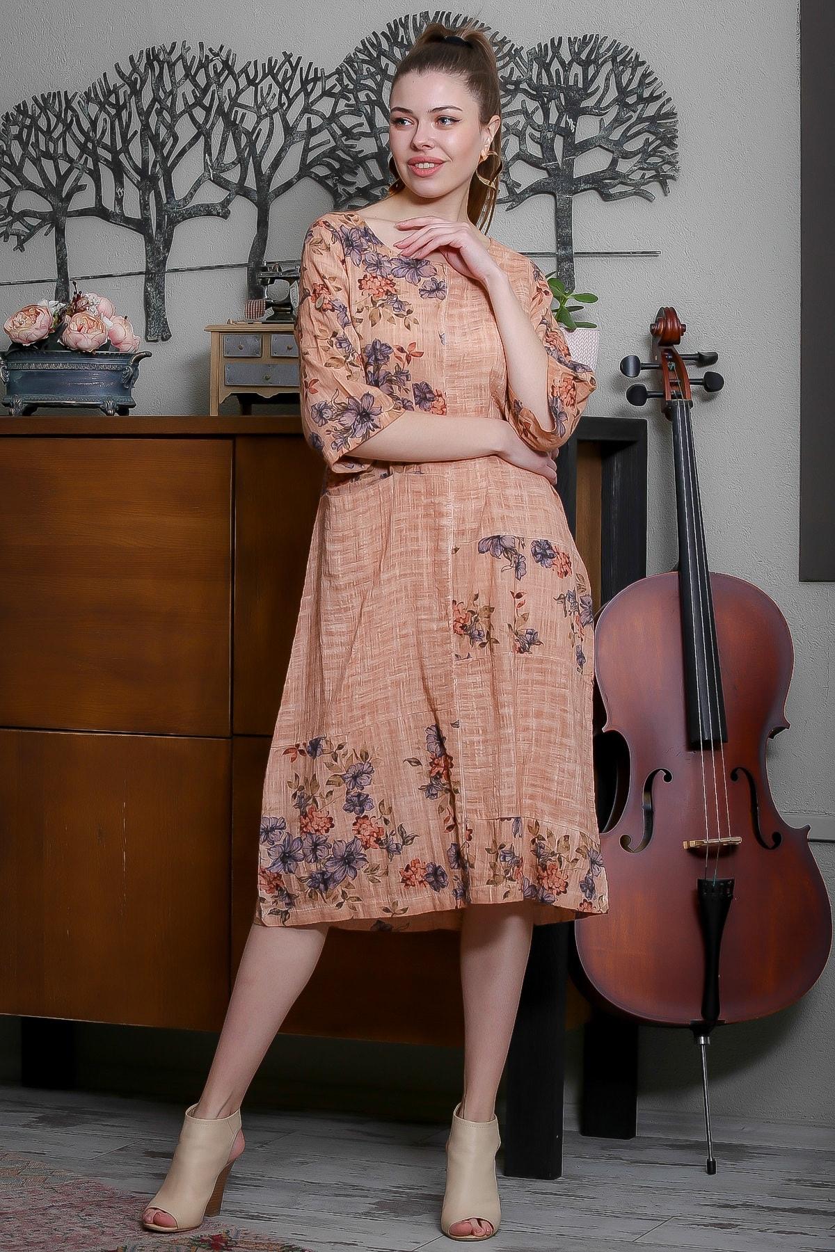Chiccy Kadın Somon Ortanca Desenli Bloklu Tek Cepli Yıkamalı Dokuma Elbise M10160000EL95494