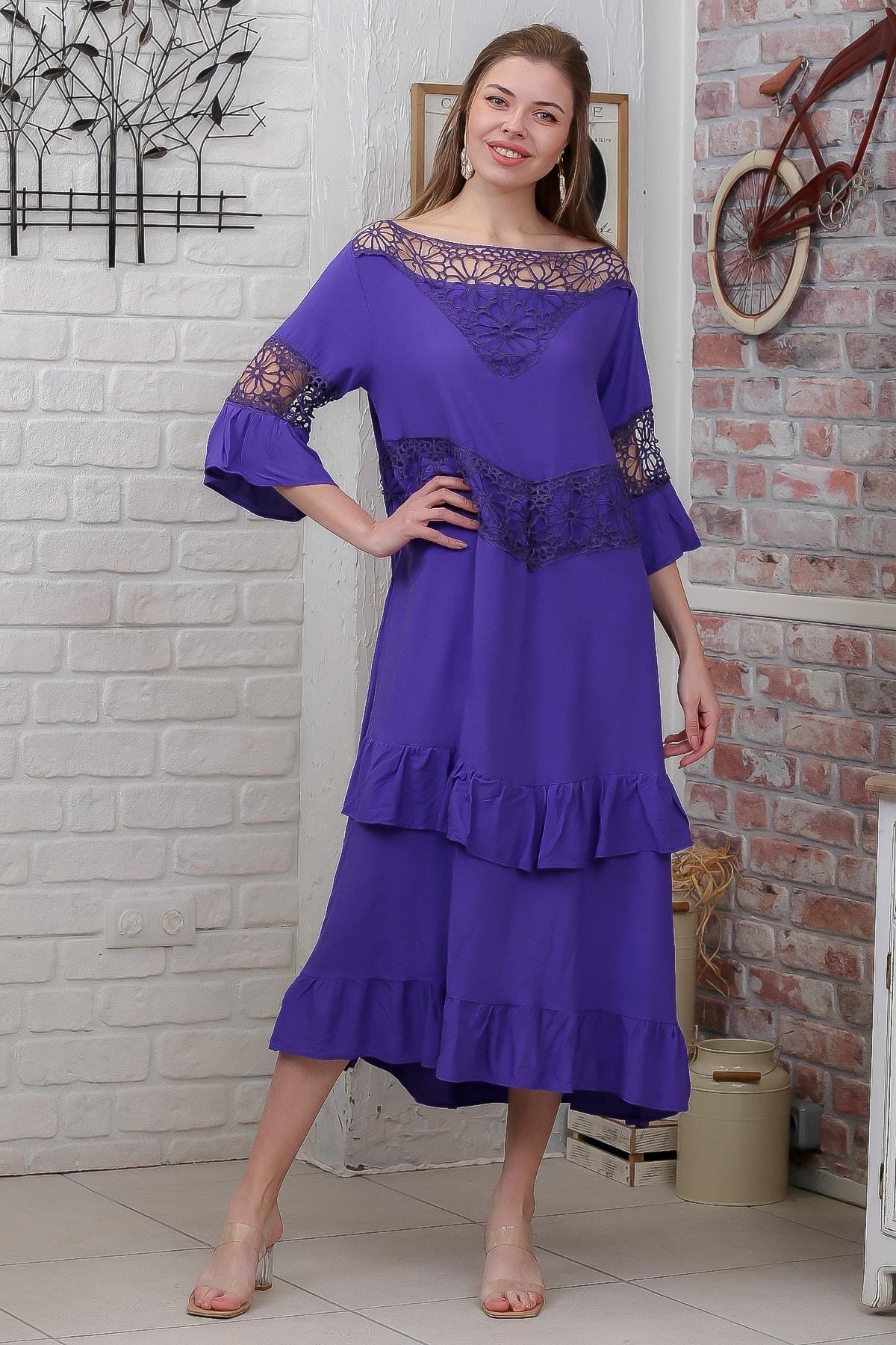 Chiccy Kadın Mor Dantel Detaylı Fırfırlı Dokuma Elbise M10160000EL95527