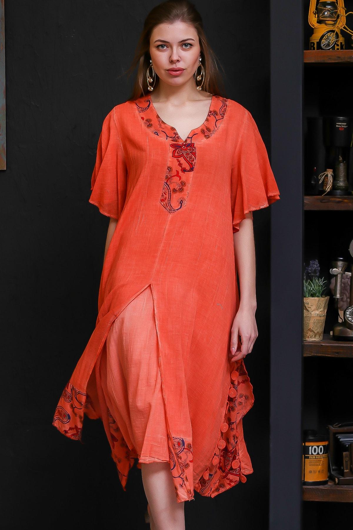 Chiccy Kadın Turuncu Şal Desenli Yaka Ve Etek Ucu Bloklu Yırtmaçlı Astarlı Yıkamalı Elbise M10160000EL96294