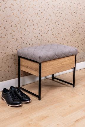 Mudesa Metal Ahşap Sandıklı Puf Bank Oturaklı Ayakkabılık Ayakkabı Boya Fırça Kutusu Dolabı