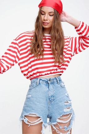 Trend Alaçatı Stili Kadın Kırmızı Beli Lastikli Crop Fit Sweatshirt ALC-X5991