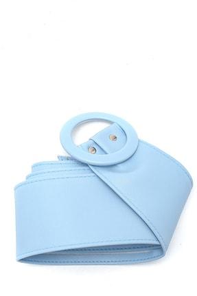 Trend Alaçatı Stili Kadın Mavi Toka Detaylı Kemer ALC-A2177