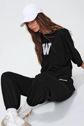 Trend Alaçatı Stili Kadın Siyah W Baskılı Eşofman Takımı ALC-X5889