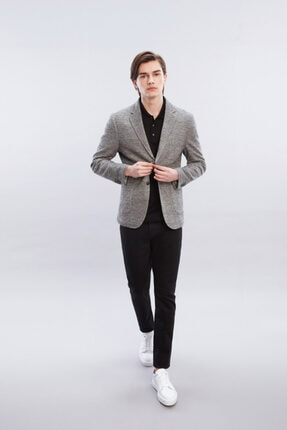 W Collection Erkek Ekru Bej Çizgili Blazer Ceket