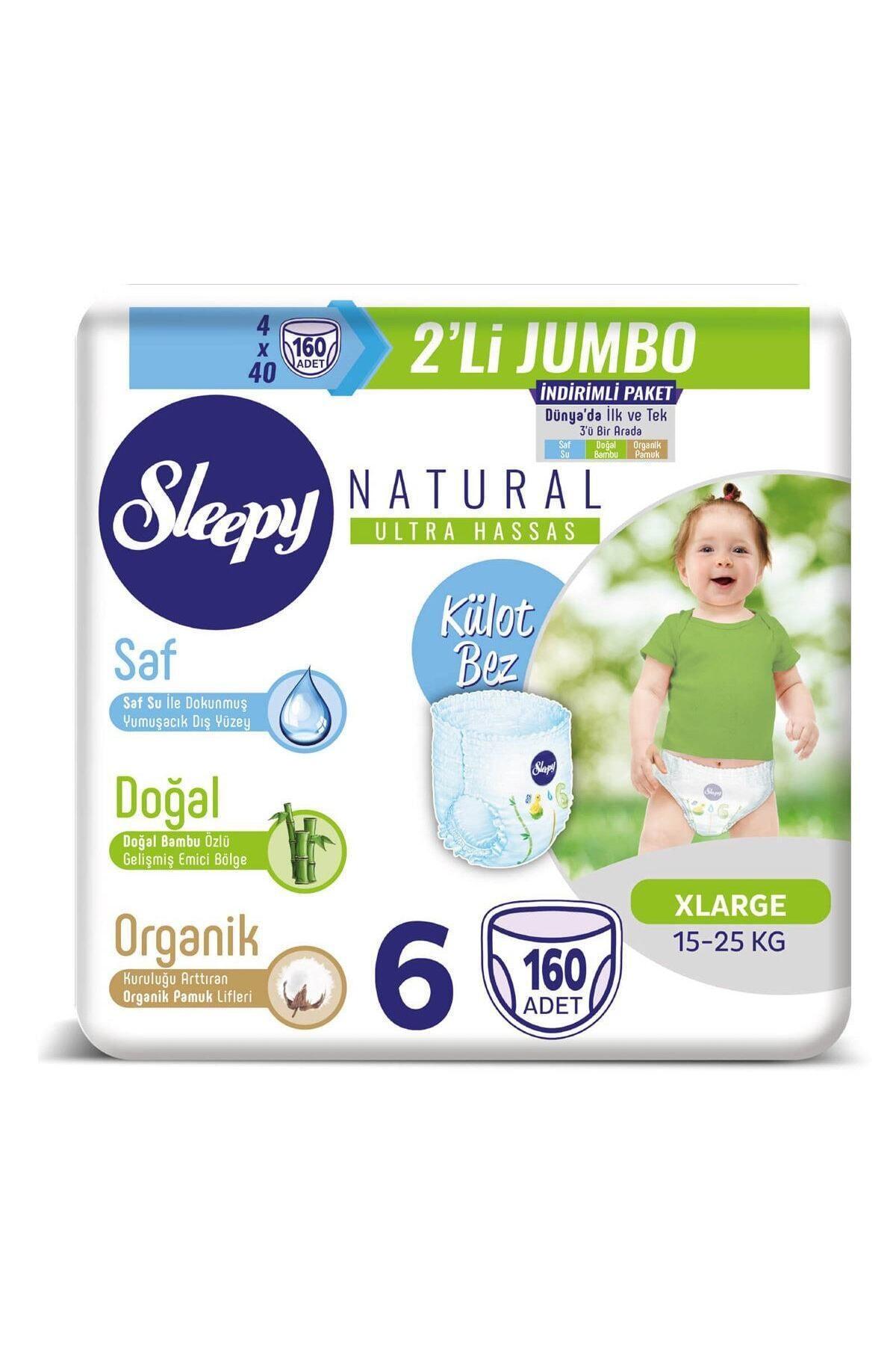 Sleepy Natural Külot Bez 6 Beden Xlarge 4X2'li Jumbo 160 Adet 1