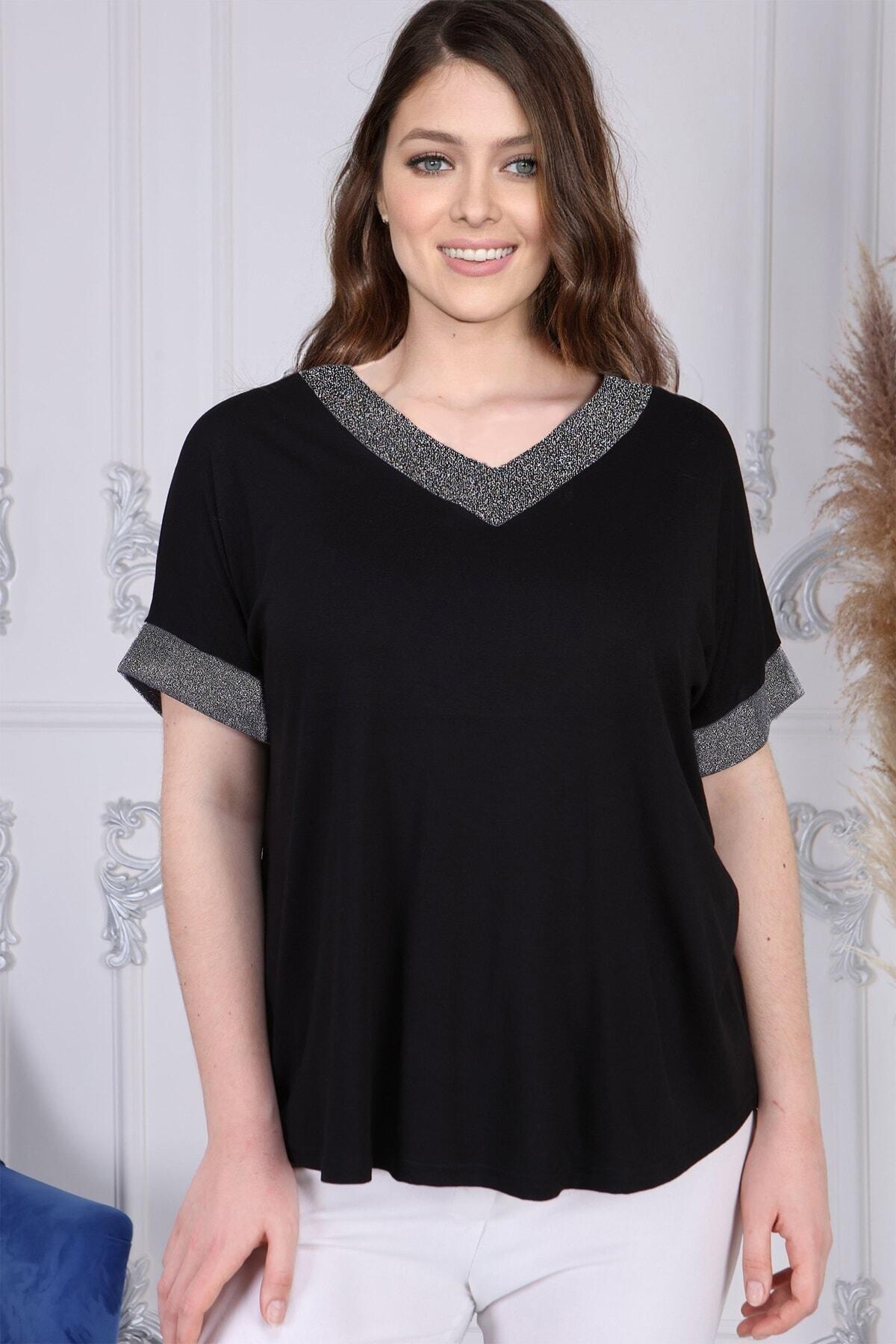 Gül Moda Kadın Siyah Büyük Beden Kısa Kollu Bluz G058-1 1