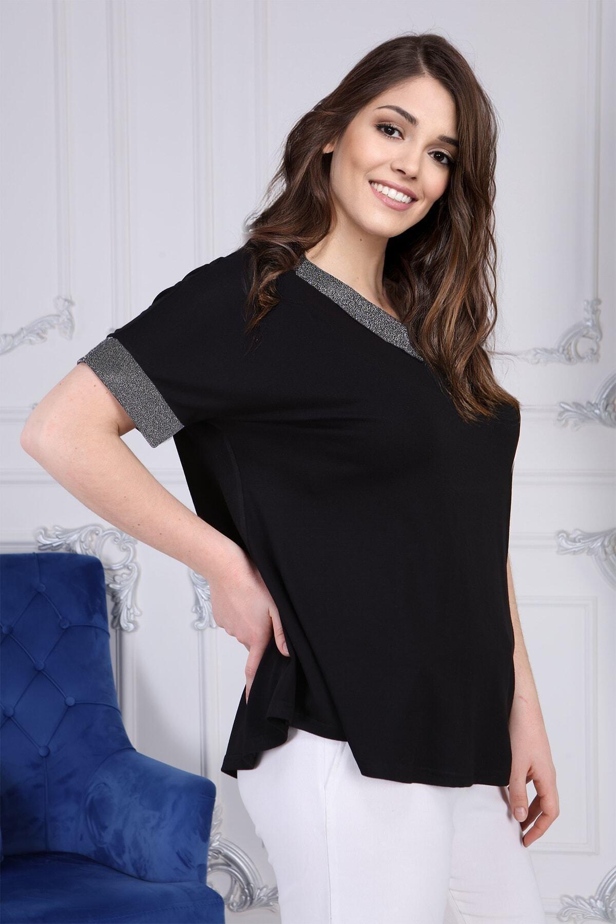 Gül Moda Kadın Siyah Büyük Beden Kısa Kollu Bluz G058-1 2
