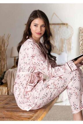 NBB Çiçek Desenli Gömlek Pijama Takımı 66676