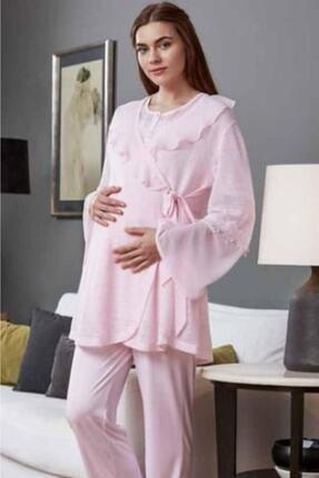 Eros Kadın Pembe Lohusa Pijama Takımı 3lü Takım 21620