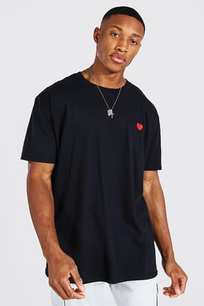 XHAN Siyah Nakış Detaylı Oversize T-shirt 1kxe1-44746-02