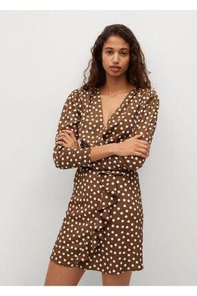 MANGO Woman Kadın Kahverengi Elbise
