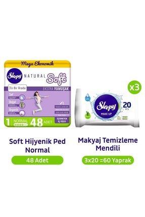 Sleepy Natural Soft Normal Hijyenik Ped 48'li + Makyaj Temizleme Mendili 3x20 60yaprak
