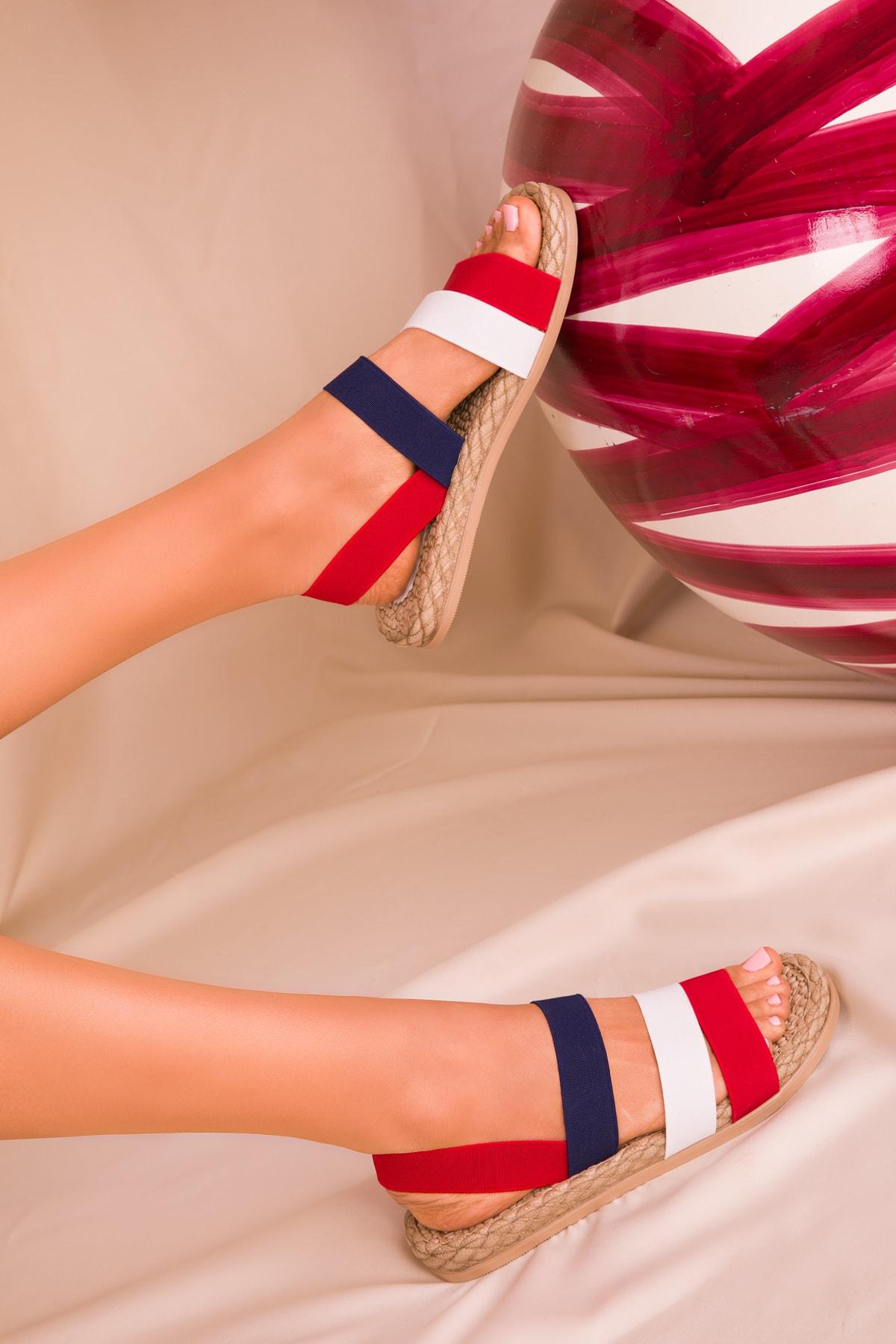 SOHO Kırmızı-Beyaz-Lacıvert Kadın Sandalet 15098 2