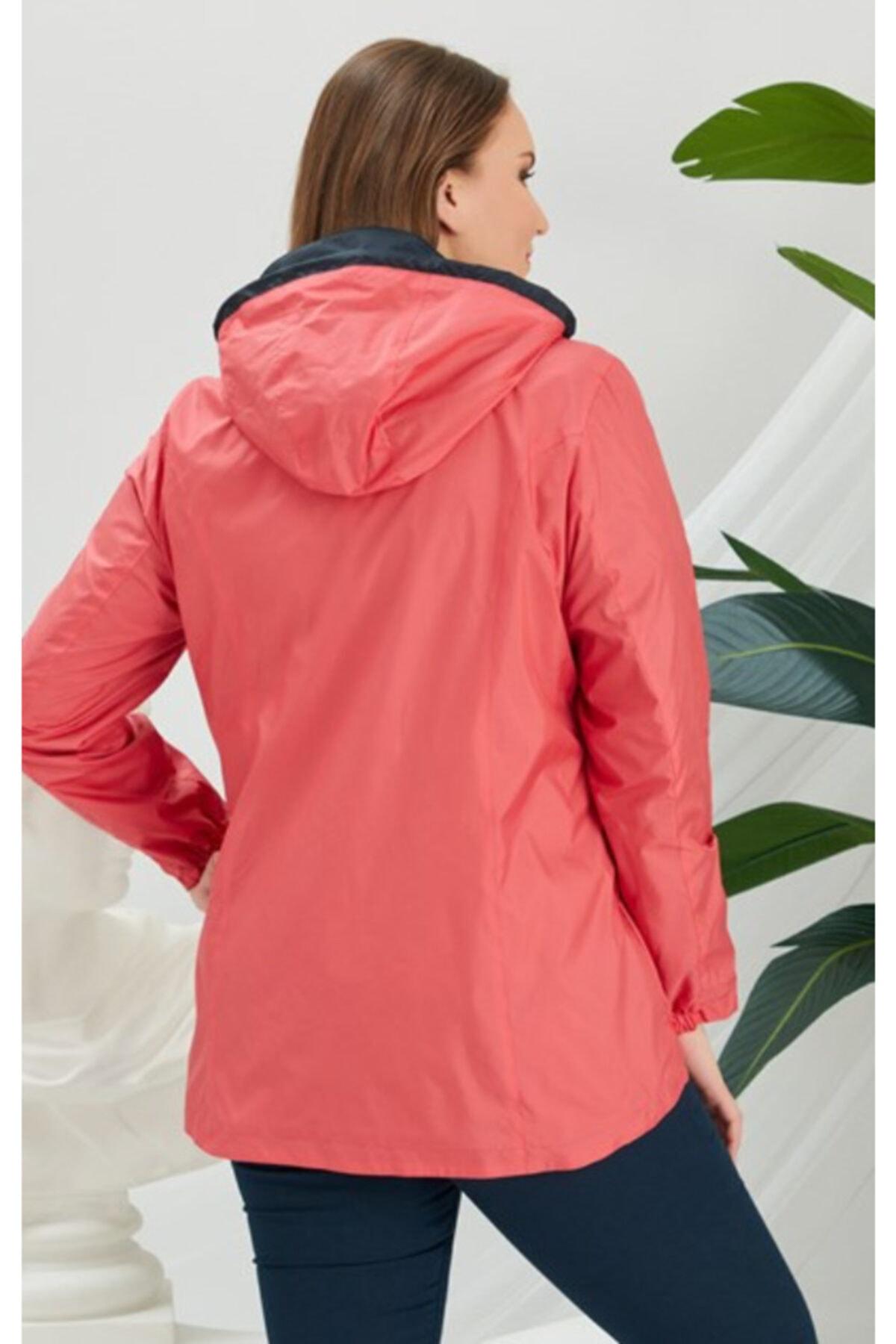 RMG Kadın Mercan Rengi İçi Fileli Büyük Beden Yağmurluk 2