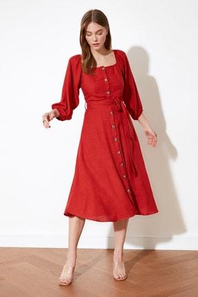 TRENDYOLMİLLA Tarçın Kuşaklı Düğmeli Elbise TWOSS19IE0009