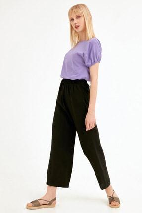 Fulla Moda Kadın Siyah Bol Kesim Pantolon