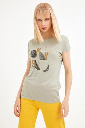 Fulla Moda Kadın Su Yeşili Ay Baskılı Tshirt