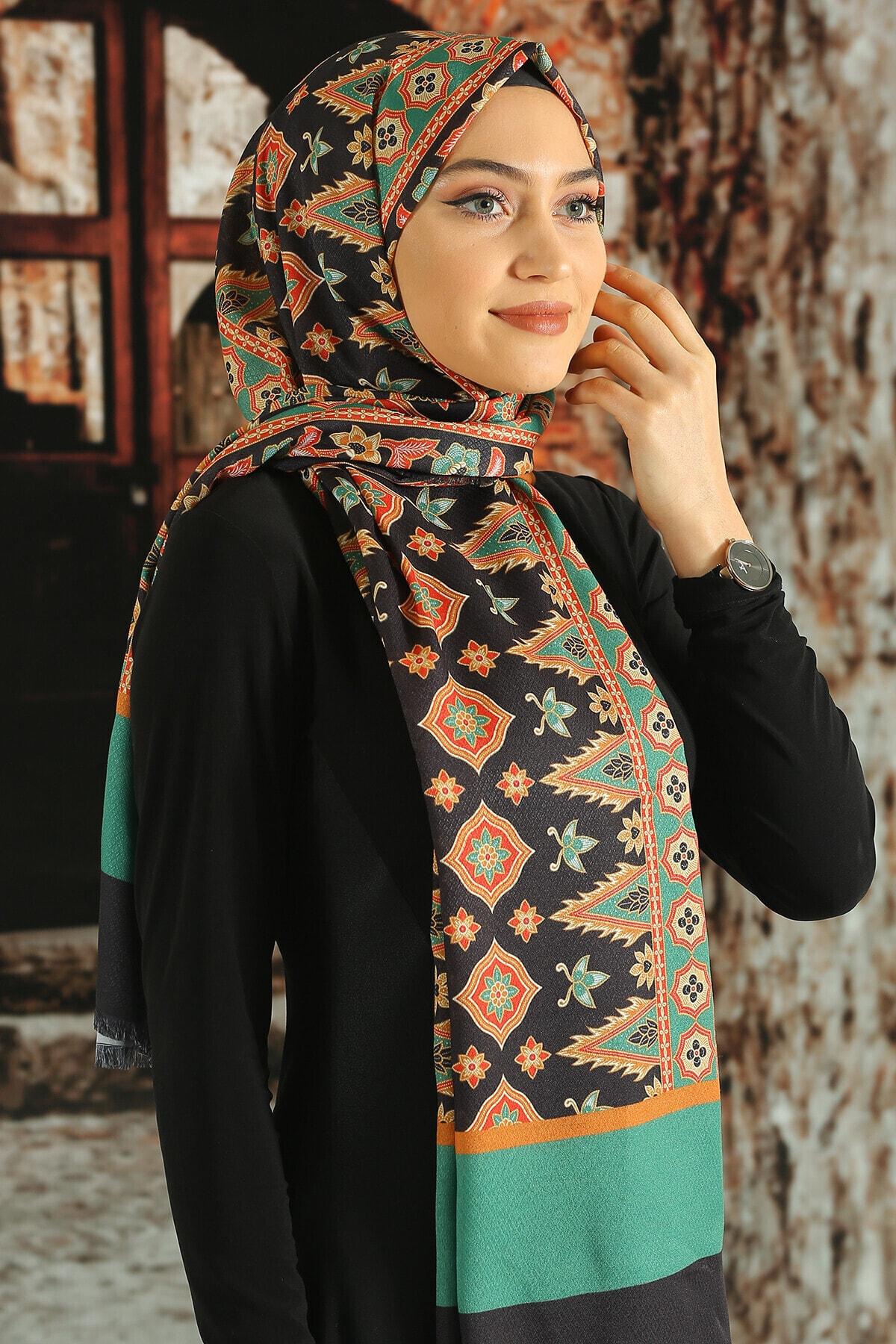 Moda Ebrar Kadın Kahverengi Desenli Pamuk Şal 1