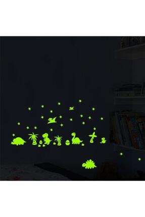 DEZ Karanlıkta Parlayan Dinozor Ve Yumurtaları Yıldızlı Çocuk Odası Duvar Sticker