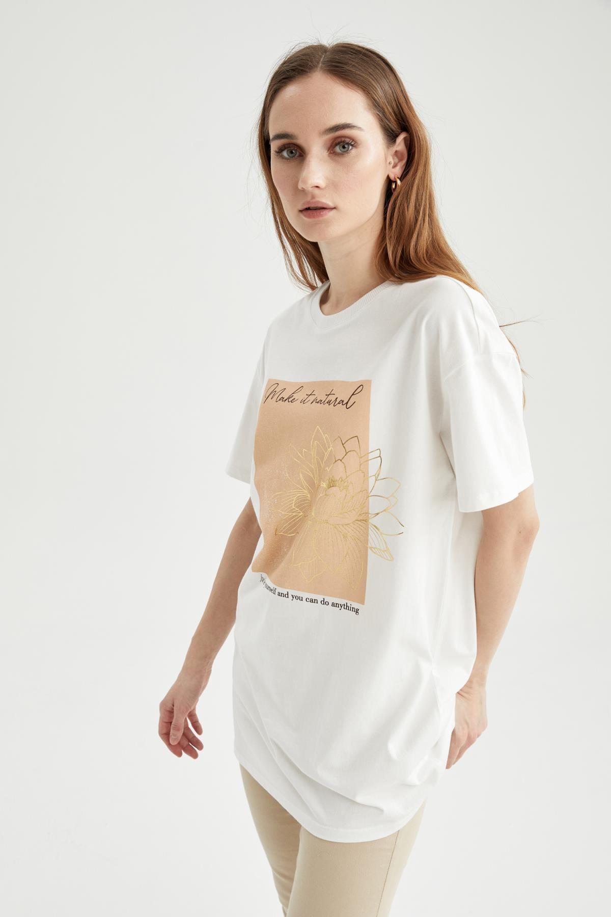 DeFacto Slogan Baskılı Oversize Fit Kısa Kollu Tişört Tunik 1