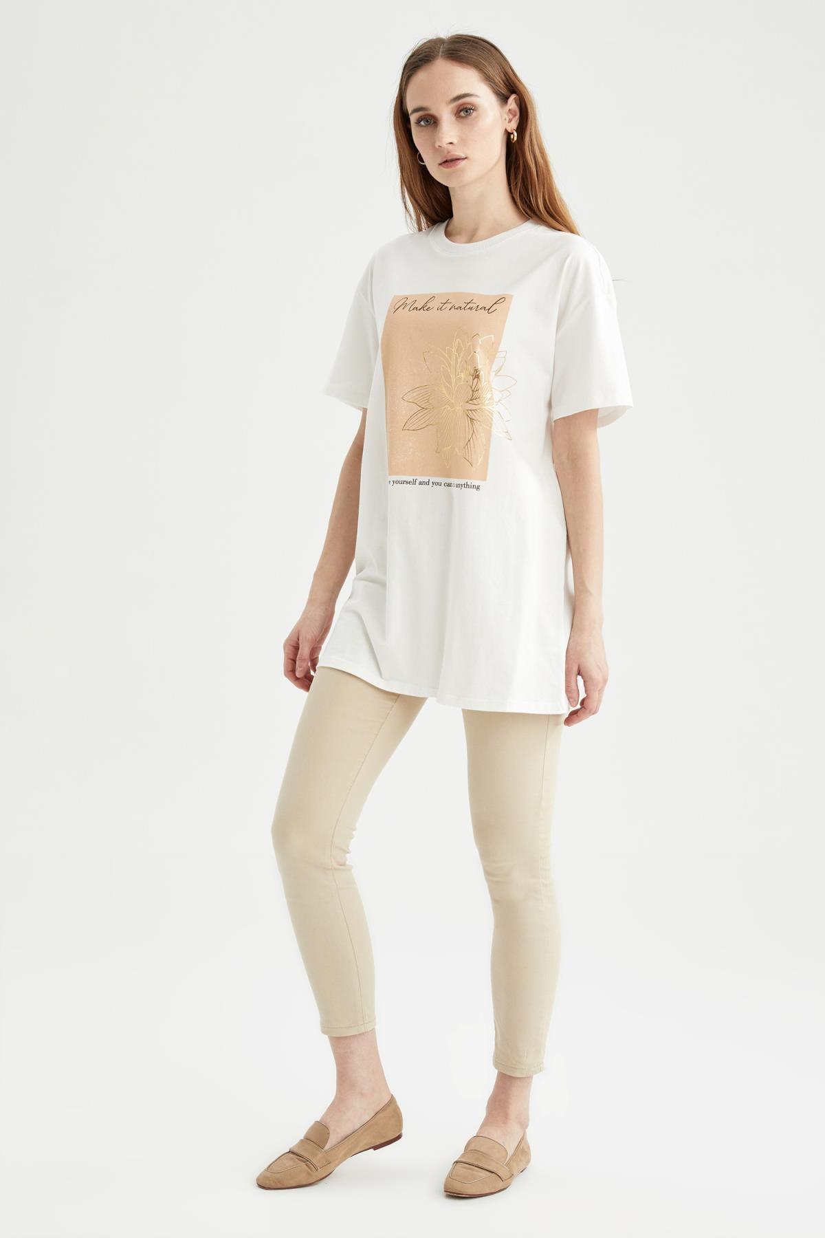 DeFacto Slogan Baskılı Oversize Fit Kısa Kollu Tişört Tunik 2