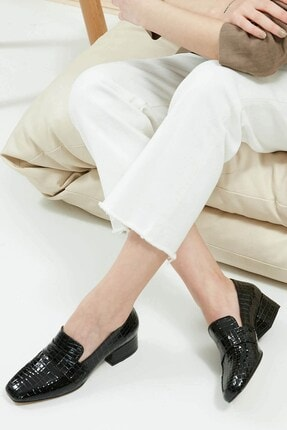 Mio Gusto Maddy Siyah Krokodil Topuklu Ayakkabı
