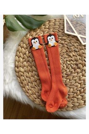 ArdenKids Bebek Turuncu Penguen Diz Altı Çorap