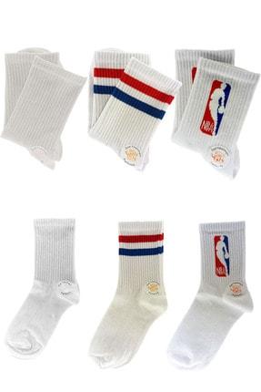 Rainbowed Beyaz Renkli  Çorap Üçlü Paket Kolej Soket