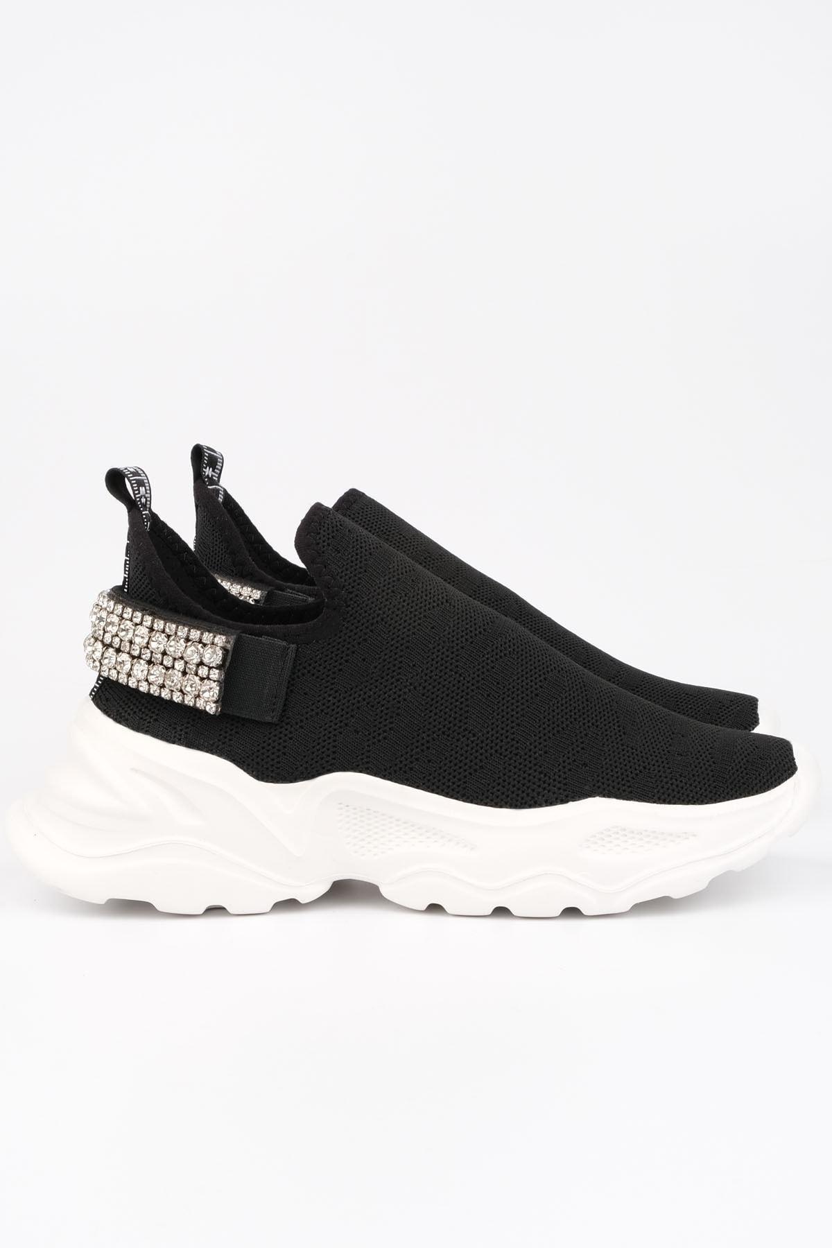 Marjin Kadın Siyah Sneaker Dolgu Topuk Çorap Spor Ayakkabı Dizva 2
