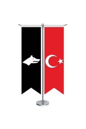 Asilmeydan Siyah Beyaz Göktürk Bayrağı - 17 Eski Türk Devletleri Ve Türkiye -saten T Direk 2li Masa Bayrağı