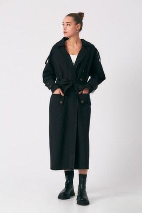 Robin Kadın Siyah Cep Detaylı Kuşaklı Trençkot