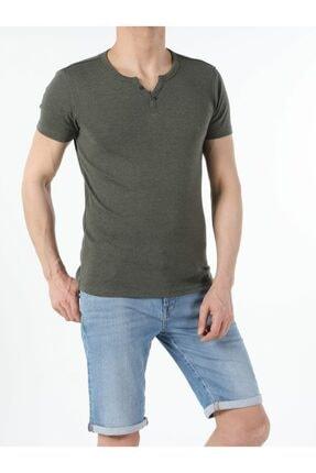 Colin's Slim Fit Placket Neck Erkek Haki Kısa Kol Tişört
