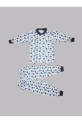 Karaca Unisex Çocuk Lacivert Puantiye Baskılı Pijama Takımı