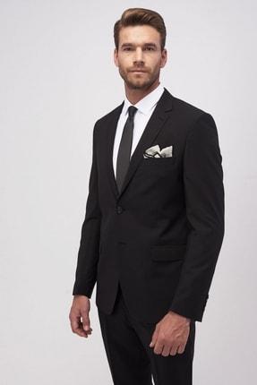 ALTINYILDIZ CLASSICS Erkek Siyah Slim Fit Dar Kesim Düz Siyah 8 Drop Su Geçirmez Nano Takım Elbise