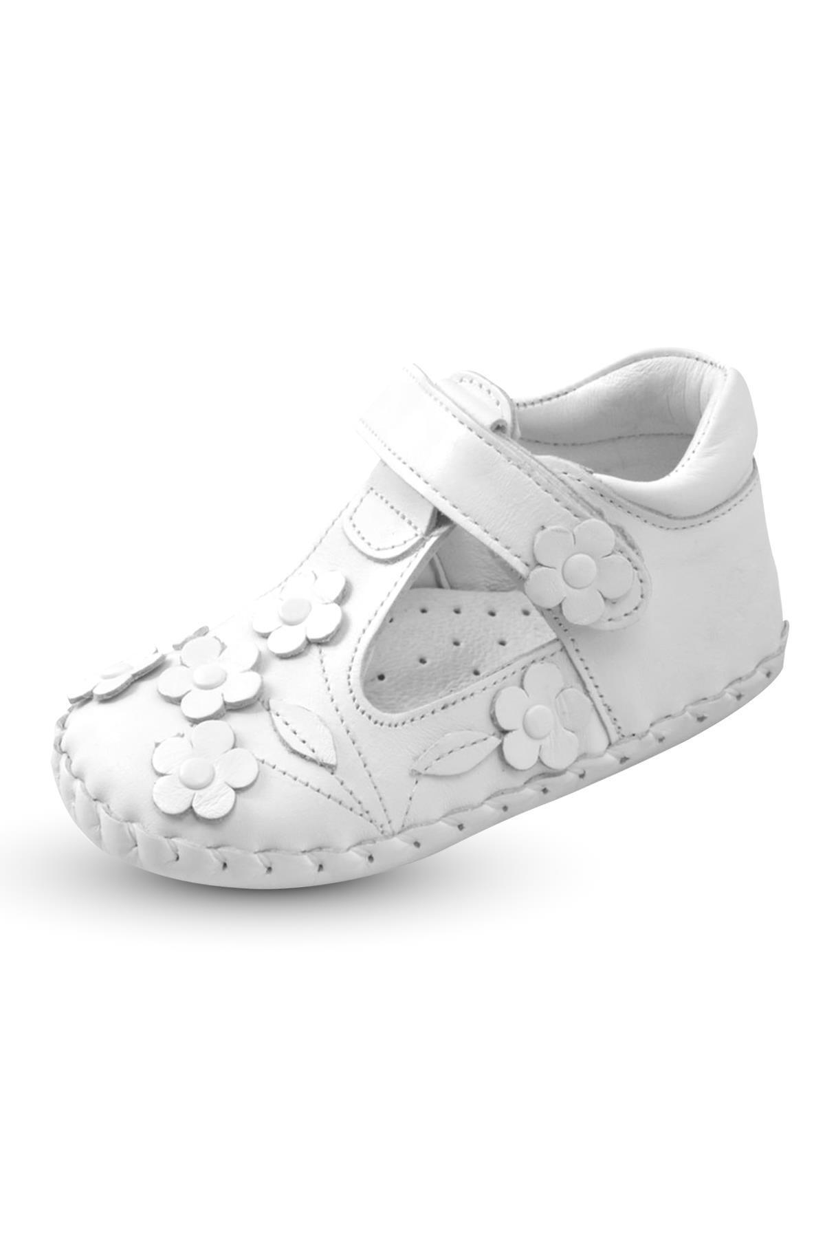 KAPTAN JUNIOR Ilkadım Hakiki Deri Kız Bebek Çocuk Ortopedik Ayakkabı Patik 2