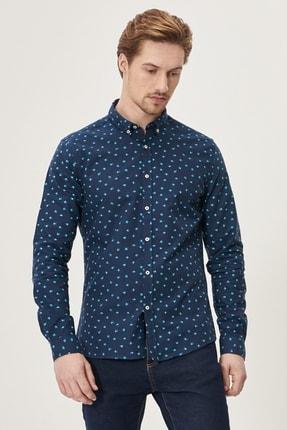 AC&Co / Altınyıldız Classics Erkek Lacivert Tailored Slim Fit Düğmeli Yaka Baskılı %100 Koton Gömlek