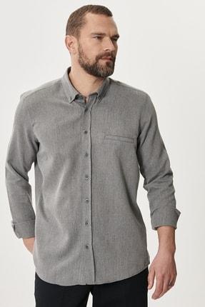 AC&Co / Altınyıldız Classics Erkek Gri Tailored Slim Fit Dar Kesim Düğmeli Yaka Kışlık Gömlek