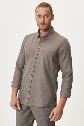 AC&Co / Altınyıldız Classics Erkek Kahverengi Tailored Slim Fit Dar Kesim Düğmeli Yaka Kışlık Gömlek