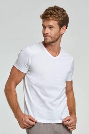 Hemington Erkek Beyaz V Yaka T-shirt Basic