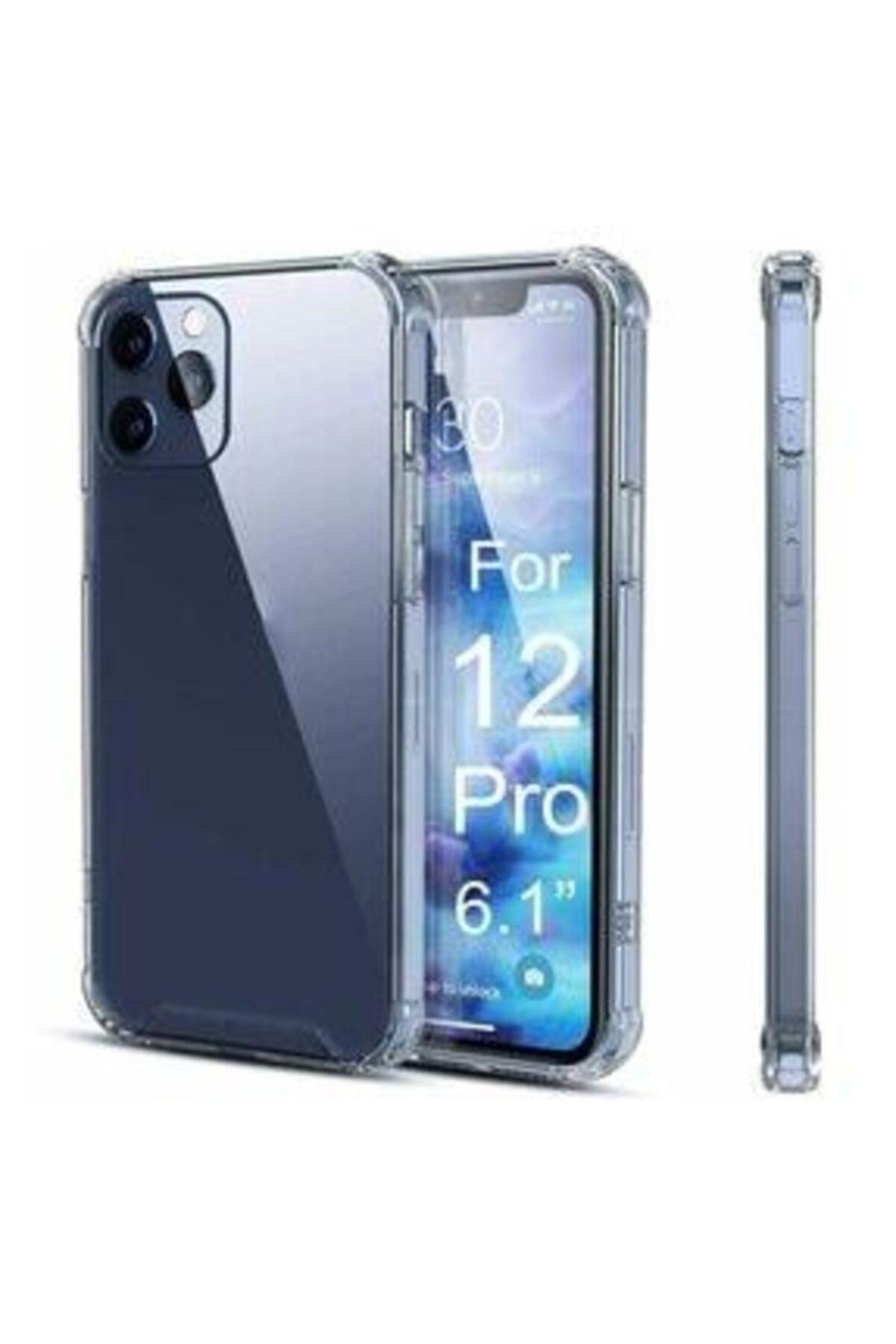 """LOOVİTECH Iphone 12 Pro Max 6.7"""" Kılıf Antishock Silikon Köşeli Şeffaf Airbag Arka Kapak 2"""