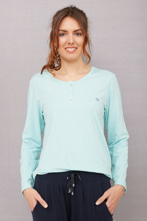 Marie Claire Kadın Aqua Uzun Kollu Pamuklu Modal Pijama Üstü 81MC
