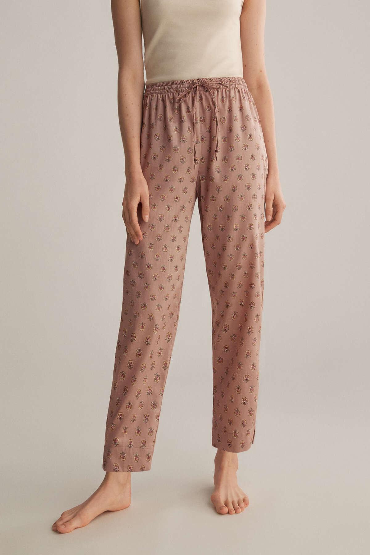 Oysho Kadın Pembe %100 Pamuklu Pul Desenli Pembe Pantolon 30308944