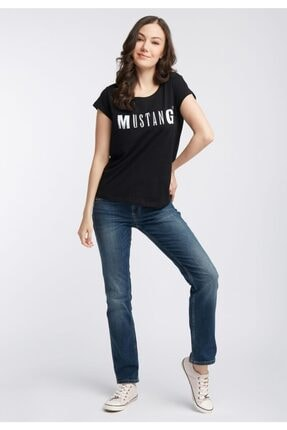 Mustang Baskılı Kadın Tişört - Siyah