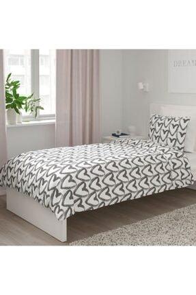 IKEA Tek Kişilik Nevresim Takımı Meridyendukkan Beyaz-gri 150x200/50x60 Cm